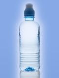 Purified spring water in the bottle over blue background poster