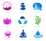 Fototapety Wellness, relaxation and yoga icon set. Vector illustration