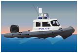 Police motor boat poster
