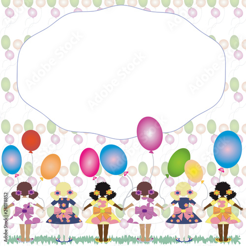 Frame with girls and balloons