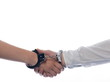 Handshake with handcuffs