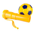 football and trumpet isolated on the white background