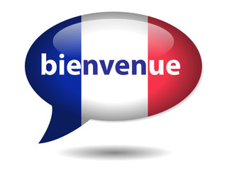 """Bouton Web Bulle """"BIENVENUE"""" (Accueil Tourisme France Français)"""