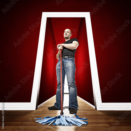 caucasian cleaner in 3d location