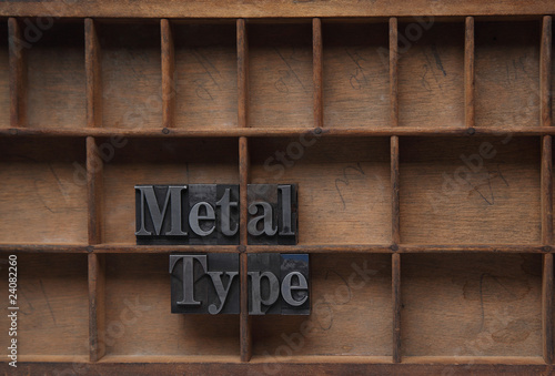 metal type in a wood case
