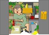 Woman In A Cluttered Cubicle poster