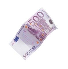 Billete de quinientos euros cayendo