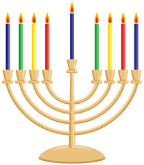 Hanukkah Menorah with Lit Candles
