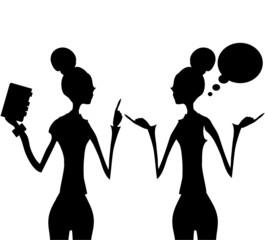 Silhouette business woman talking speech think bubble
