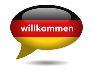 """WILLKOMMEN"" speech bubble icon (web button home germany flag)"
