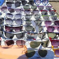 many sunglasses outdoor market shop
