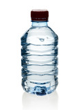 Purified spring water in the bottle with reflection poster