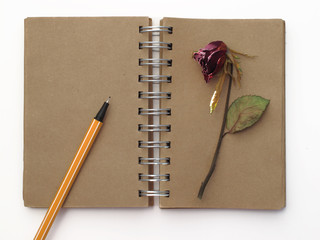 pen,notebook and deadrose