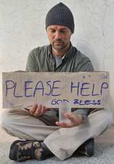 Homeless asking for help - a series of HOMELESS images.