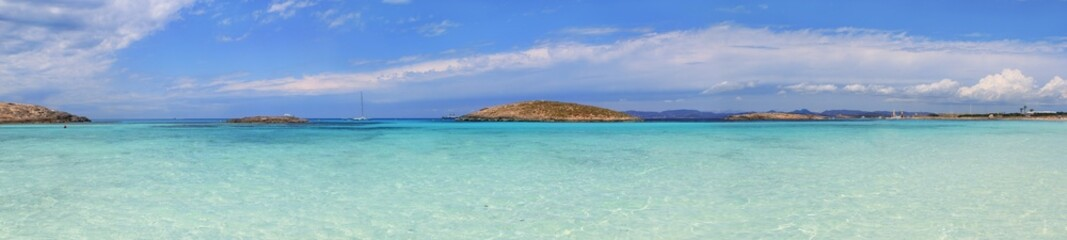 Panoramic Illetas view turquoise Formentera Balearic