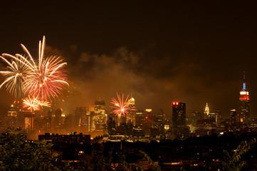 Independence day fireworks over Manhattan, New York city