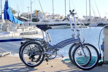 two bicycles marine folding bike on marina