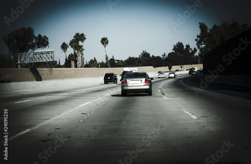 Cars on freeway California