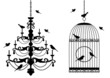 birdcage and chandelier with birds, vector