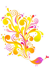 bird with swirl, vector