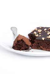 brownie square on plate dish