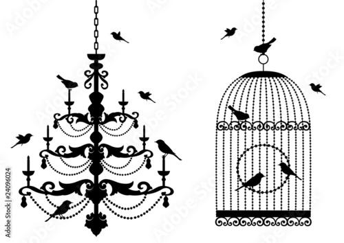 birdcage and chandelier with birds, vector