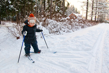 Little Boy Cross Country Skiing