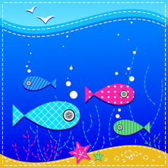 underwater. ocean and fishes.