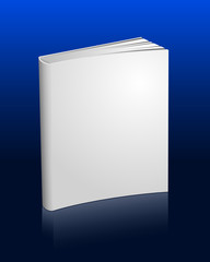 Blank white book with reflection
