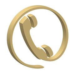 Golden HOTLINE Icon (3D helpline contact helpdesk phone call us)