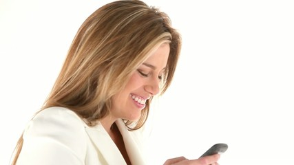 Business woman texting on the phone