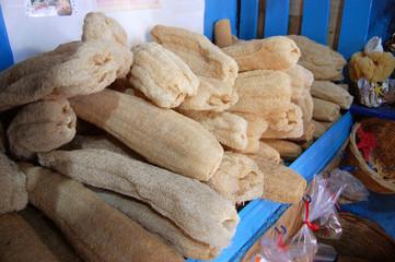 Loofahs on sale on the island of Kalymnos