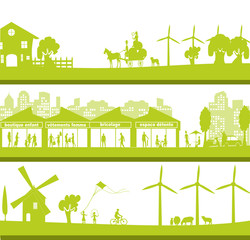 bannière urbaine et nature verte