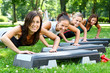 young and attractive people doing fitness exercises - 24105895