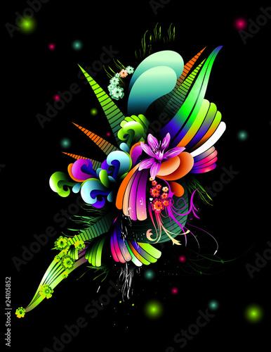 color flowers vector illustration