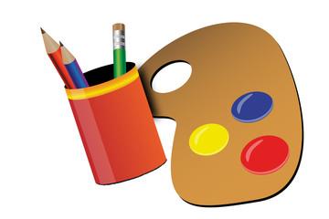 Côté graphisme - palette de peinture et pot à crayons