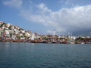 View of port and peninsula Alanya