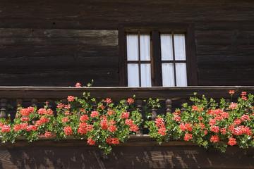Balkon mit Geranien
