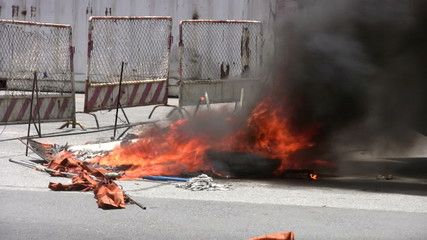Burning Barricade During Riot