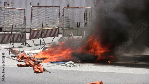 Burning Barricade During Riot