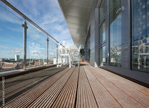 Leinwanddruck Bild Modern Apartment Balcony with Wooden Decking