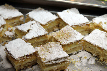 Pieces of cream millefeuille for dessert