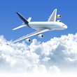 airplane flying over the clouds with clipping path for isolation