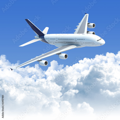 airplane flying over the clouds Poster