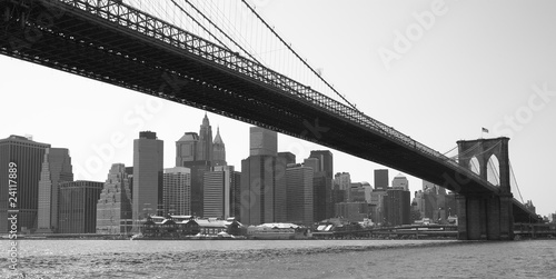 New York City Brooklyn bridge black & white