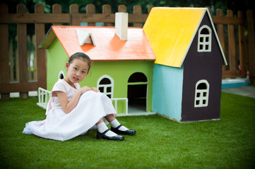 little girl and house like Fairy tale