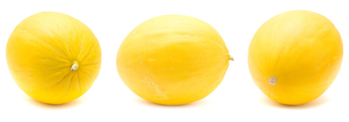 yellow honeydew melons, isolated