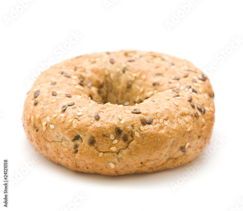 multigrain bagel isolated on white