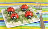 ladybug tomato and olive with cheese
