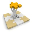 Man with missing piece of puzzle. 3d illustration.